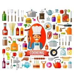 Cooking set of elements - chef food pan frying vector
