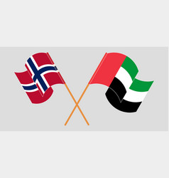 Crossed and waving flags norway and united vector