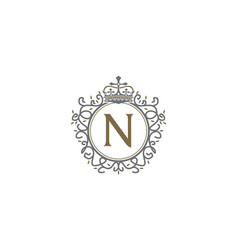 crown leaf logo initial n vector image