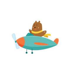cute bear flying an airplane with scarf fluttering vector image