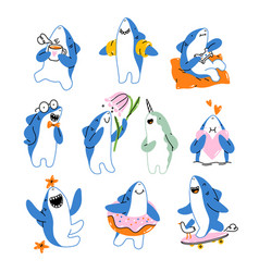 cute shark cartoon mascot collection vector image