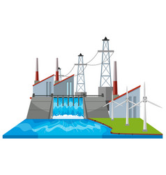 Dam scene with wind turbines vector