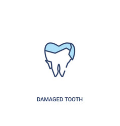 damaged tooth concept 2 colored icon simple line vector image