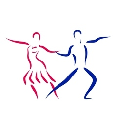 Dancing couple logo isolated on white background vector
