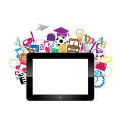 Digital tablet back to school circle seamless chil vector