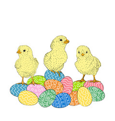 Easter eggs and chickens vector