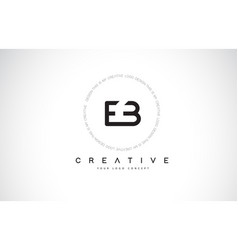 eb e b logo design with black and white creative vector image