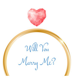 Engagement card will you marry me ring vector