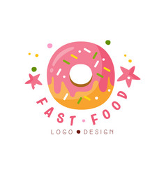Fast food logo design badge with glazed donut vector