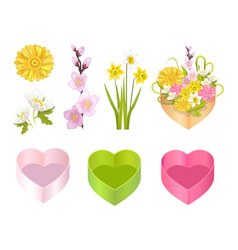 flowers set and boxes poster vector image