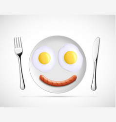 Fried eggs with sausage in form a smiley vector