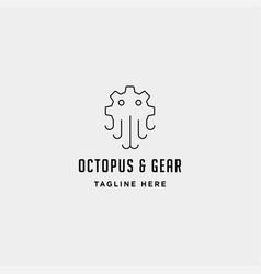 Gear octopus logo sea industry line icon sign vector