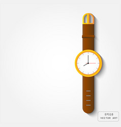 Gold watch with leather strap vector