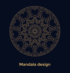Golden ornament mandala with hearts on black vector
