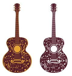 Guitar and Music Notes vector image vector image