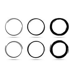 Hand drawn circle frame set scribble line circle vector