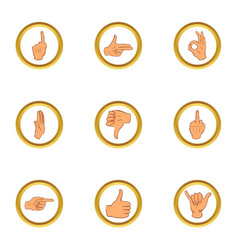 Hand gesture icons set cartoon style vector
