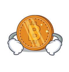 Hand on waist bitcoin coin character cartoon vector