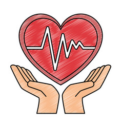 hands with heart cardio isolated icon vector image