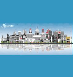 Havana cuba city skyline with color buildings vector