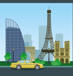 historical and modern buildings of paris urban vector image