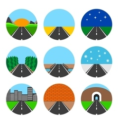 Icons of road landscapes vector