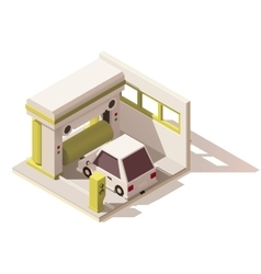 Isometric low poly car wash icon vector