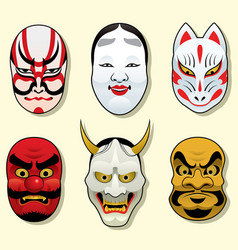 japan traditional mask set vector image