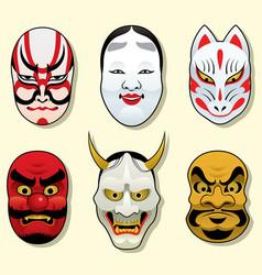 Japan traditional mask set vector