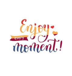 lettering of enjoy every moment in four colors vector image
