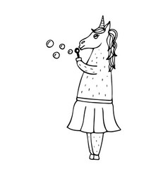 Lovely hand-drawn unicorn-girl with soap bubbles vector