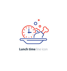 lunch plate tasty dinner main course clock icon vector image