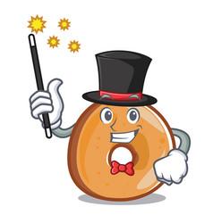 Magician bagels mascot cartoon style vector