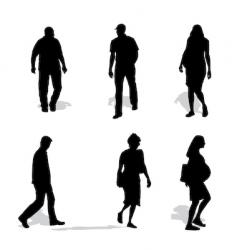 men and women walking silhouettes vector image