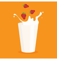 milk splash in the glass and strawberry vector image