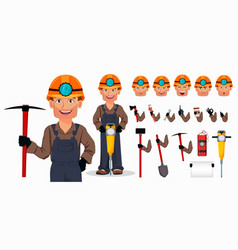 miner man mining worker cartoon character vector image