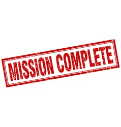 Mission complete red square grunge stamp on white vector
