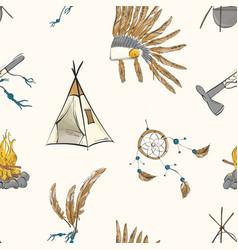 Native american indian warior vintage bohemian vector