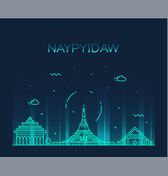 Naypyidaw skyline myanmar linear style city vector