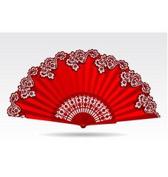 Open vintage folding red fan with a lace ornament vector