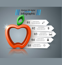 paper business infographic apple icon vector image