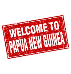 Papua New Guinea red square grunge welcome to vector