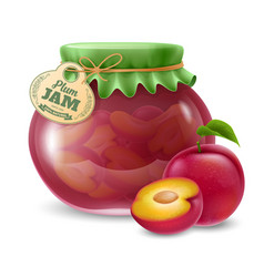 Plum jam in the glass jar vector