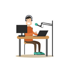 Radio people in flat style vector