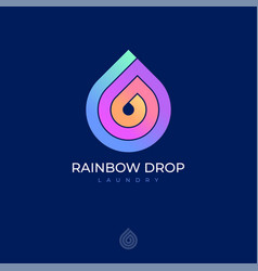 Rainbow drop icon logo laundry dry clean helix vector