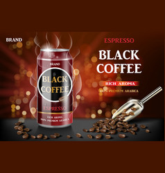 realistic black canned espresso coffee with beans vector image
