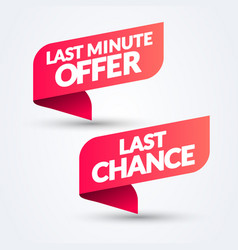 Red banner ribbon set with last minute offer vector
