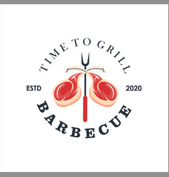 rib eye barbecue logo design template vector image