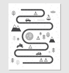 Road mountains and woods adventure map vector
