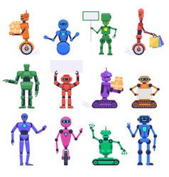 Robot characters robotic mechanical humanoid vector